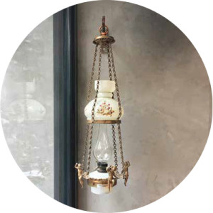 An antique oil lamp from Orhan Utan's lamp collection.